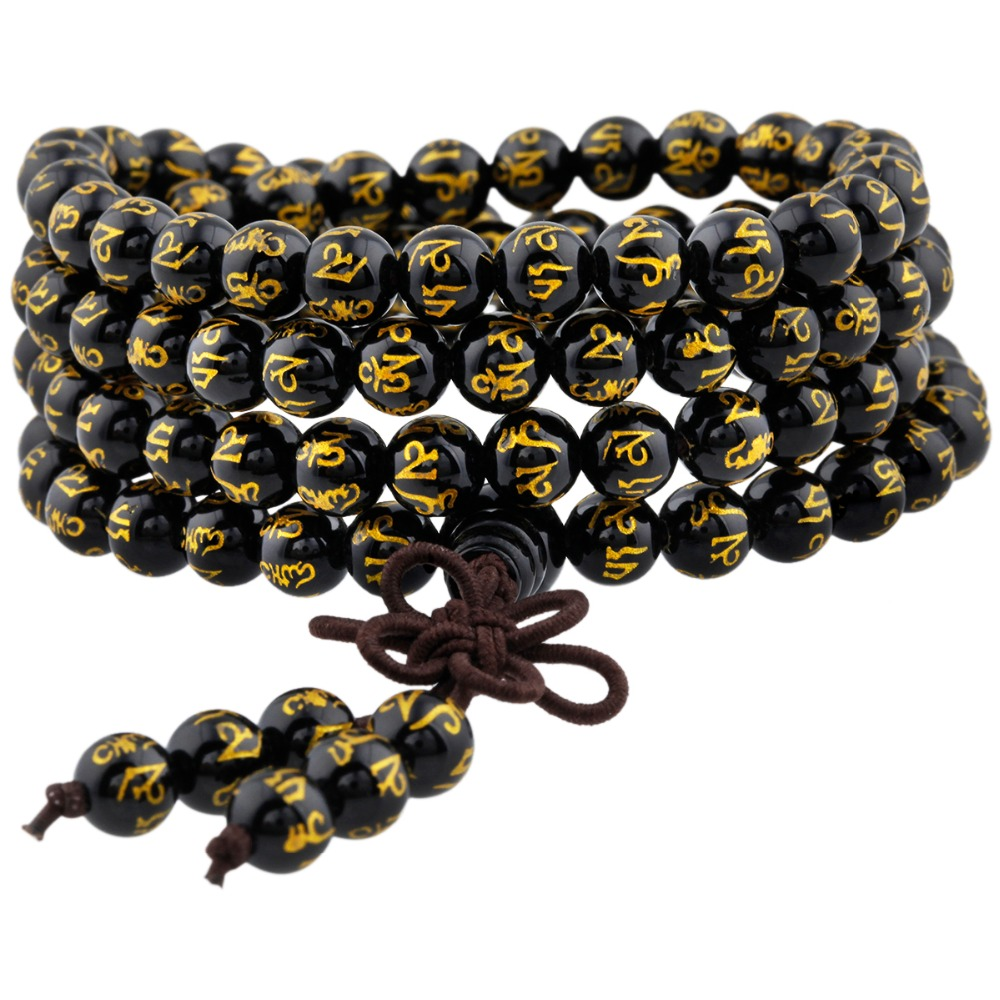 SUNYIK Black Onyx 108 Six Words Mantra Beads Bracelet Tibetan Buddhist Mala Necklace