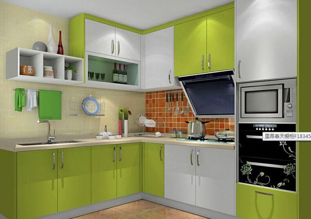Sweet House Plan Colorful Kitchen Furniture High Gloss
