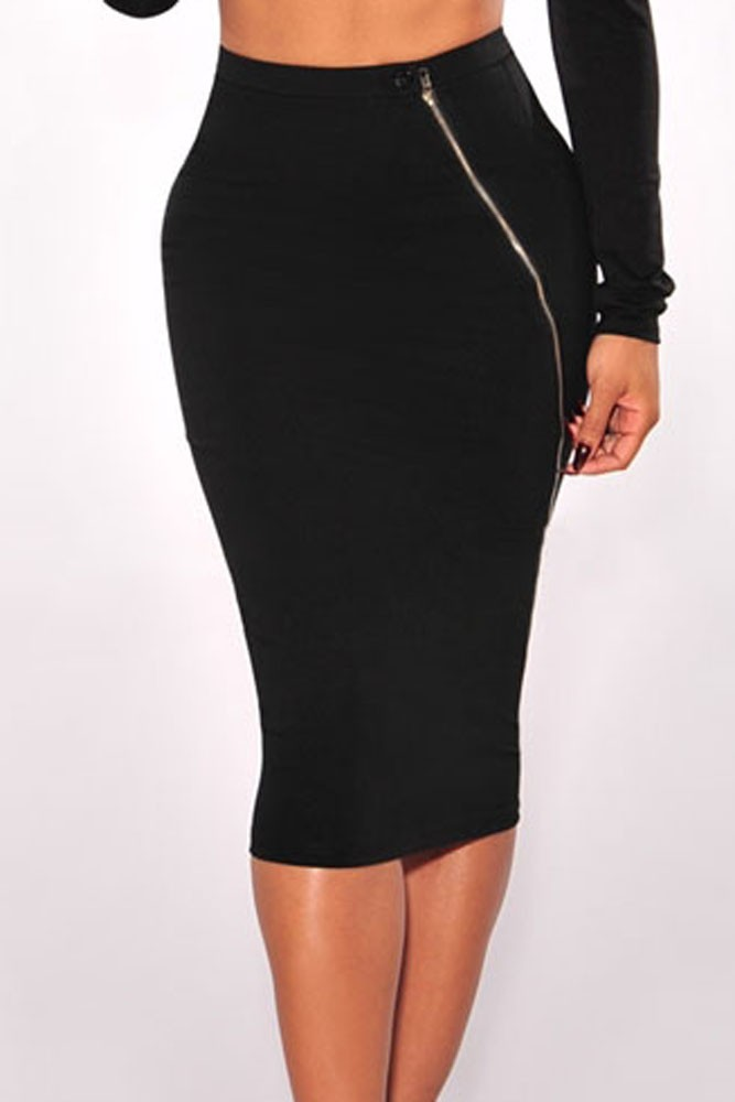 5aa0af829 Dear Lover OL Slim Fitted Knee Length Black Silver Zipper Accent ...