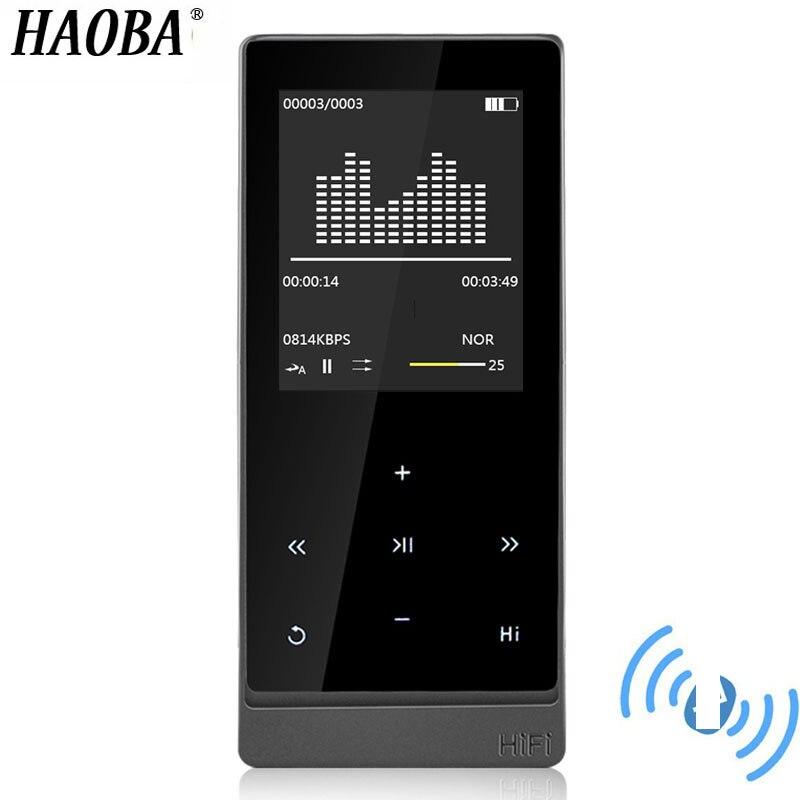 Tela de Toque Haoba Player Bluetooth Dupla Saída Áudio Metal Lossless Music Suporte fm Ebook Gravador Mp3 4.0