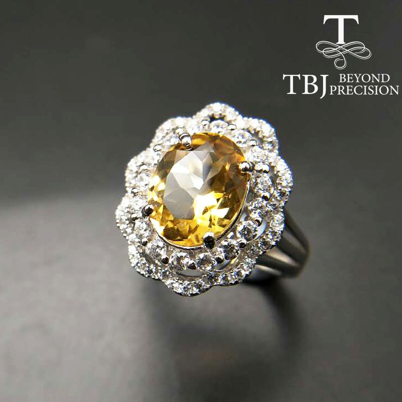 TBJ,Natural Brazil Citrine oval cut 8*10mm  gemstone solid ring in 925 sterling silver gemstone jewelry for lady with gift boxTBJ,Natural Brazil Citrine oval cut 8*10mm  gemstone solid ring in 925 sterling silver gemstone jewelry for lady with gift box