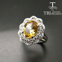 TBJ,Natural Brazil Citrine oval cut 8*10mm gemstone solid ring in 925 sterling silver gemstone jewelry for lady with gift box