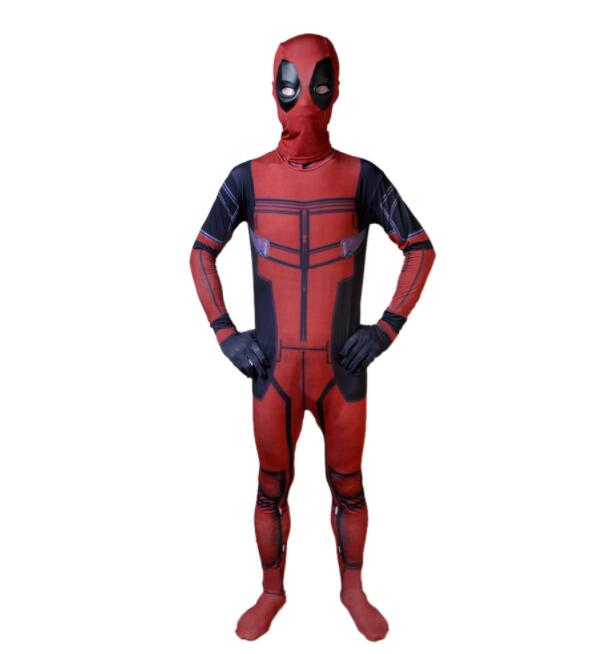 Hot Marvel Halloween Cosplay Full Body Deadpool Costume Adult Digital Print Lycra Costume Kids Deadpool Cosplay