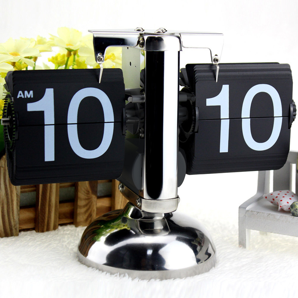 Small Scale Table Clock Retro Flip Over Clock Stainless Steel Internal Gear Operated Quartz Clocks Black White Home Decoration