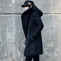 2016 Новых Корейских мужская Мода Сплошной Цвет С Капюшоном Шерстяное Пальто Вернуться Сплит Длинный Жакет Пальто Человек Сгущает Тонкий Капюшоном