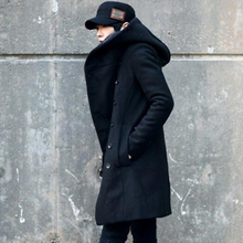 2016 New Korean Fashion Men's Solid Color Hooded Woolen Coat Back Split Long Jacket Coat Man Thicken Slim Hoody