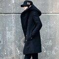 2016 Nueva Corea hombres de la Moda Con Capucha de Color Sólido Abrigo de Lana Volver Dividir Largo Espesar Chaqueta de Abrigo de Hombre Delgado Con Capucha