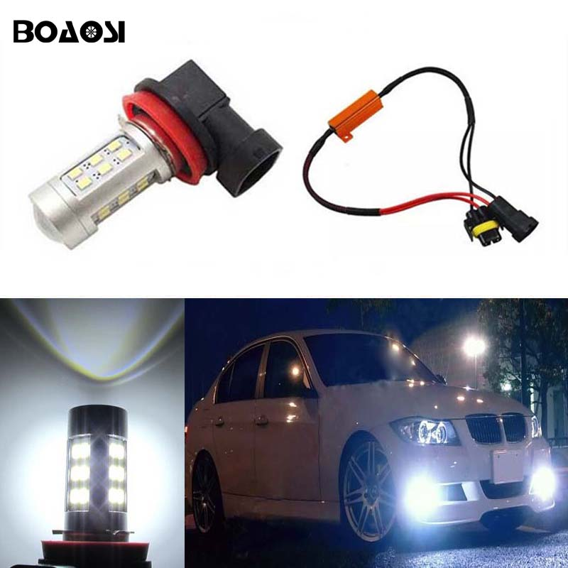 BOAOSI 1x H11 H8 projector LED Fog Light Bulbs No Error For BMW 3/5-Series 328i 335i E39 525 530 535 540 E61 F10 X3 F25 E90 boaosi 1x h11 high power led light 4014 33smd 30w fog light driving drl car light no error for bmw e71 x6 m e70 x5 e83 f25 x3