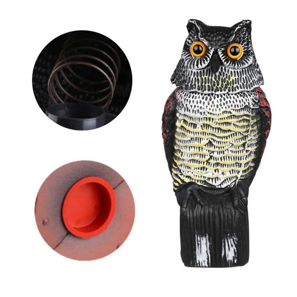 Outdoor Hunting Realistic Bird Scarer Rotating Head Owl Decoy Protection Repellent Bird Pest Control Scarecrow Garden Yard Decor