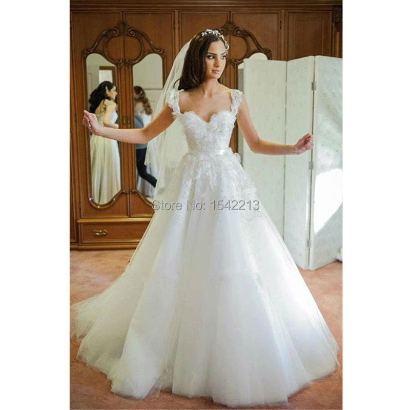 Sweetheart Wedding Dress With Cap Sleeves: Cap Sleeves Lace Appliqued Sweetheart Corset Bodice