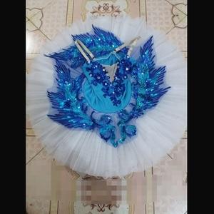 Image 2 - Dostosowane najlepiej sprzedających się Anna Shi klasyczne elastan etap Tutu/dziewczyna niebieski ptak baletowa spódniczka Tutu sukienki, sukienka baletowa projekt Tutu do tańca