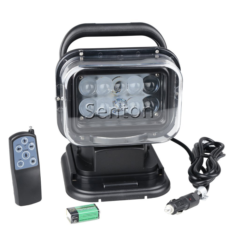 360 Degree Rotating With Cigarette Lighter 50W Remote Control Led Work Light, Led Search Light With Magnet For Auto