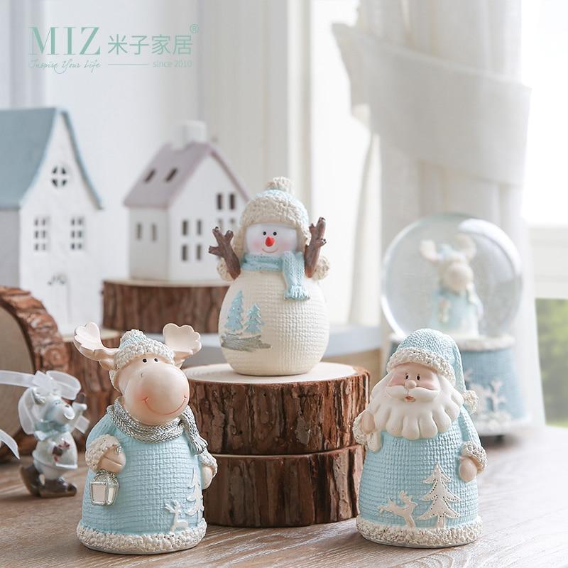 Miz 1 piece christmas gift resin figure christmas for Home decor reindeer christmas figurine set