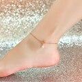 Qualidade 18KGP ouro rosa pérolas de lótus de aço de titânio tornozeleira moda marca de jóias para mulheres frete grátis ( GA047 )