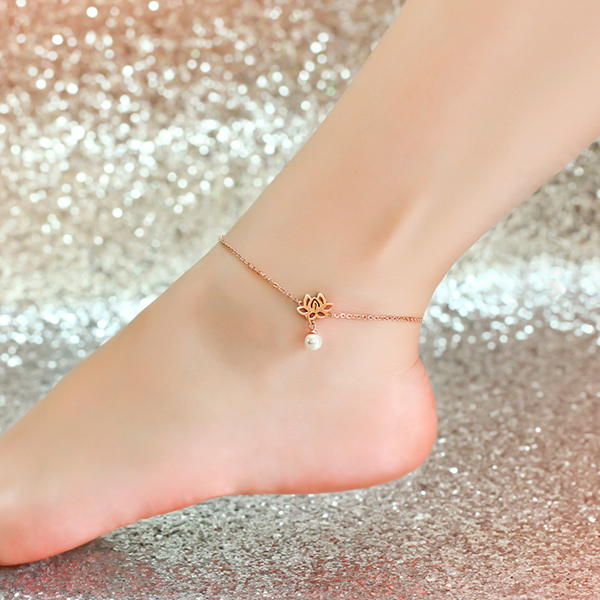 Top Quality 18KGP Rose Gold Plated Titanium Steel Lotus Pearls Anklet Fashion Brand Jewelry for Women