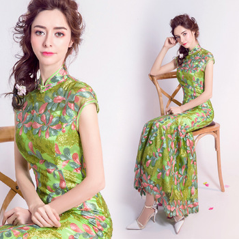 green traditional wedding qipao dresses cheongsam embroidered designer modern chinese oriental women long lace plus size mermaid