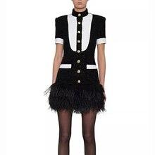 High street 2020 mais novo vestido à moda feminina botões de metal cor bloco de penas embelezado vestido