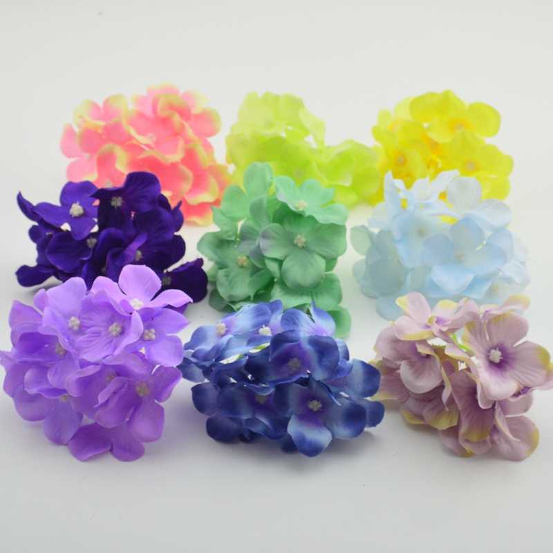 3pcs artificial flowers wall silk decorative hydrangea heads simulation DIY gifts box silk flower for wedding home decoration