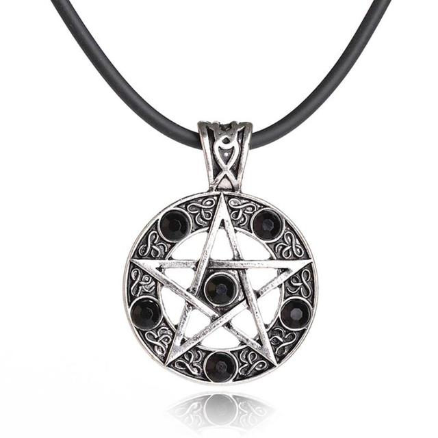 Retro men pentagram black red star round crystal pendant leather retro men pentagram black red star round crystal pendant leather cord necklaces for male charm jewelry audiocablefo