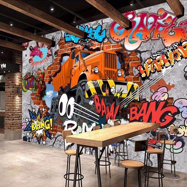 3D Broken Brick Wall Graffiti Cartoon Cars Mural For