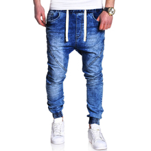 купить Men Jeans Runway Slim Racer Biker Jeans Fashion Hiphop Skinny Jeans For Men Bundle pants size 3XL дешево