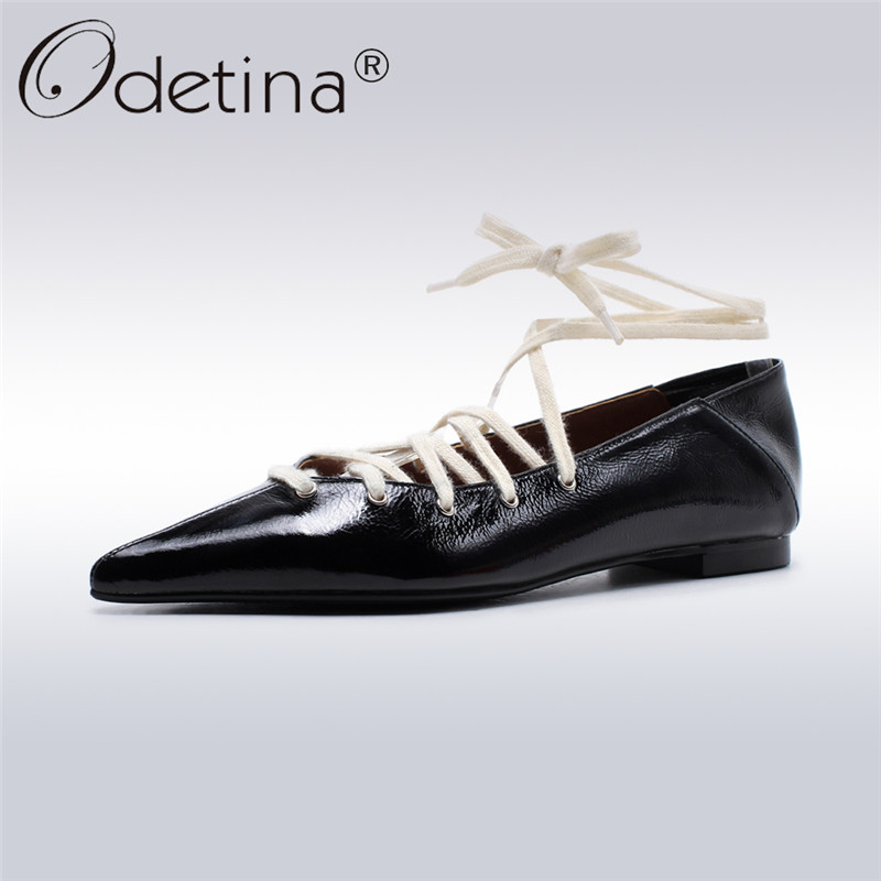 Odetina 2018 New Fashion Genuine Leather Flats For Women Cross Tied Ankle Strap Shoes Ladies Pointed Toe Flat Shoes Big Size 42 meotina women flat shoes ankle strap flats pointed toe ballet shoes two piece ladies flats beading causal shoes beige size 34 43