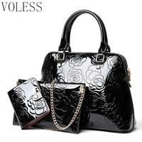 High Quality PU Leather Women Bags Women Handbags Floral Printing 3pcs Set Purse Composite Messenger Bag