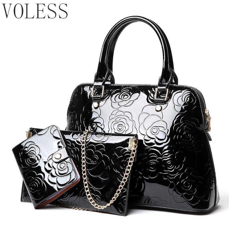 High Quality PU Leather Women font b Bags b font Floral Printing 3pcs Set Women Handbags