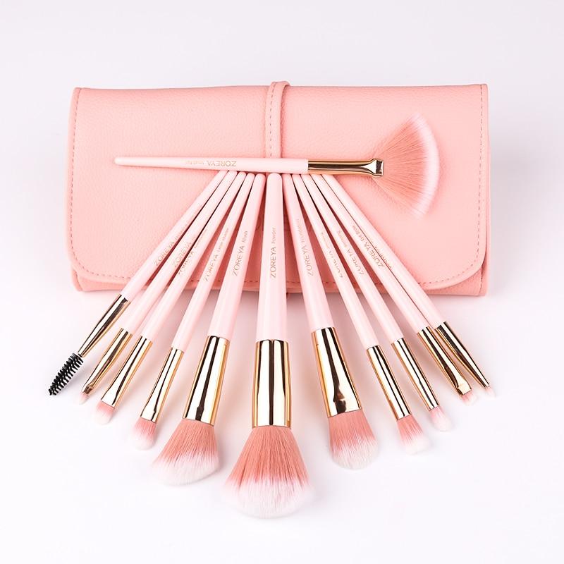 ZOREYA 12pcs Professional Makeup Brushes Super Soft Synthetic Hair Pink Handle Make Up Brush Blending Concealer Lip Beauty Tools 2