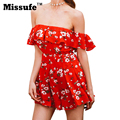 Missufe Floral Print Ruffle Slash Neck High Waist Short Sleeve Playsuit 2017 Summer Beach Style Vintage Party Women Jumpsuit