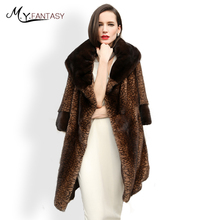 M.Y.FANSTY 2017 Winter Warm Three Quarter Leopard Mink Coat Turn-Down Collar Real Fur Coat Full Pelt Take Sashes Long Mink Coats