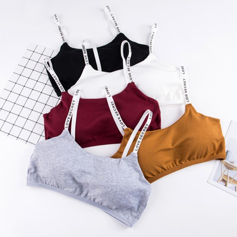 Fashion Sweet Spaghetti Strap Style Fitness Casual Wire-Free Letter Pattern Padded Chest Wrap Padded Sexy Bra Free Size