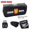 Iron man bag wallet Superman logo Captain America high-capacity double zipper pencil stationery bag purse