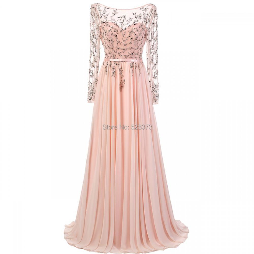 YNQNFS vraies Photos MD16 mousseline de soie perlée lourde élégante dos nu manches longues tenue robes de soirée pour mère de la mariée/marié