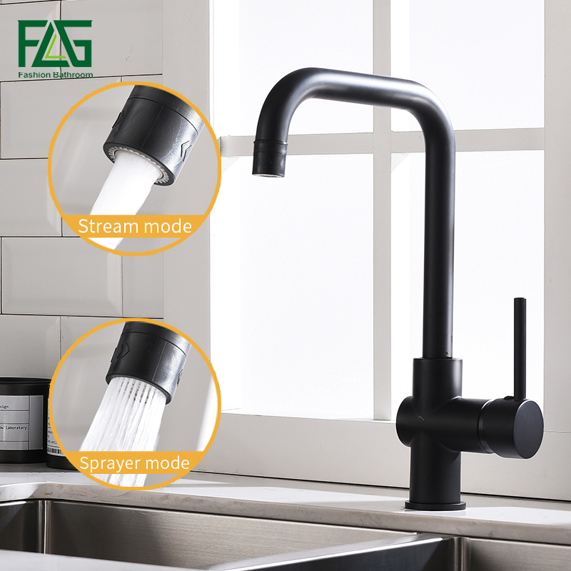 FLG robinets de cuisine 360 pivotant 2 fonction sortie d'eau mélangeur noir en laiton éviers robinet froid chaud mélangeur d'eau robinet 1012-33B