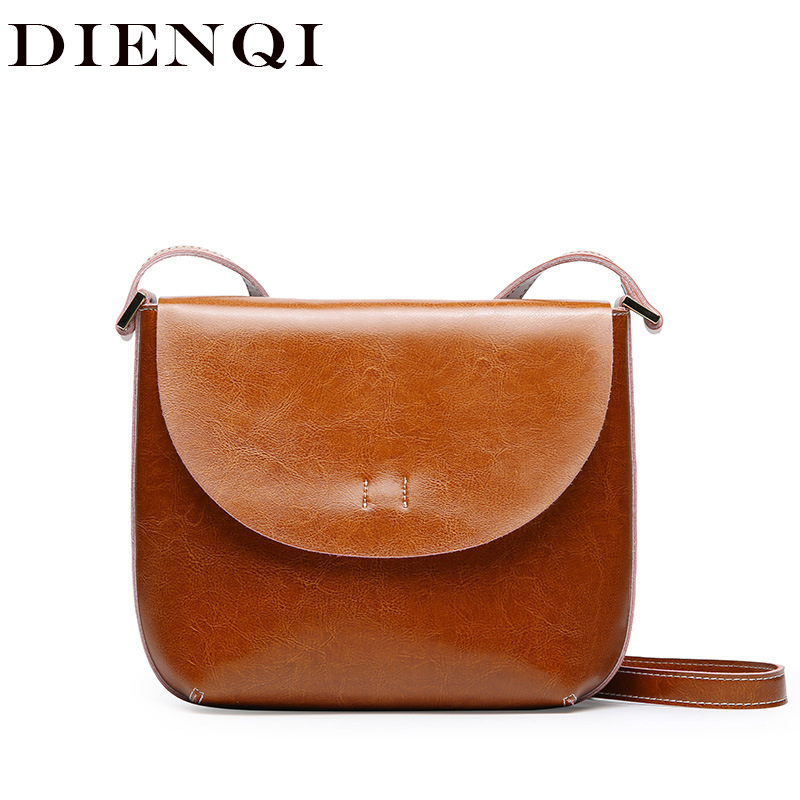 DIENQI Small Shoulder Women Messenger Bags Genuine Leather Handbag Female Fashion Crossbody Bag Ladies Solid Small Tote Bag Bag стоимость