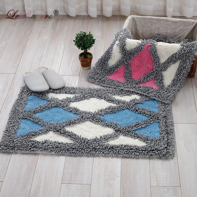 LeRadoreChenille Rhombus Design Carpet Anti-slip Floor Rug Bath Mat Soft Baby Playing Carpets for Living Room Indoor Bedroom Rug