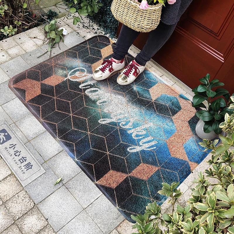 PVC soie boucle anti-poussière imprimé paillasson géométrie Plaid Check Elk tapis extérieur tapis chaussures grattoir pour salle de bain tapis bleu