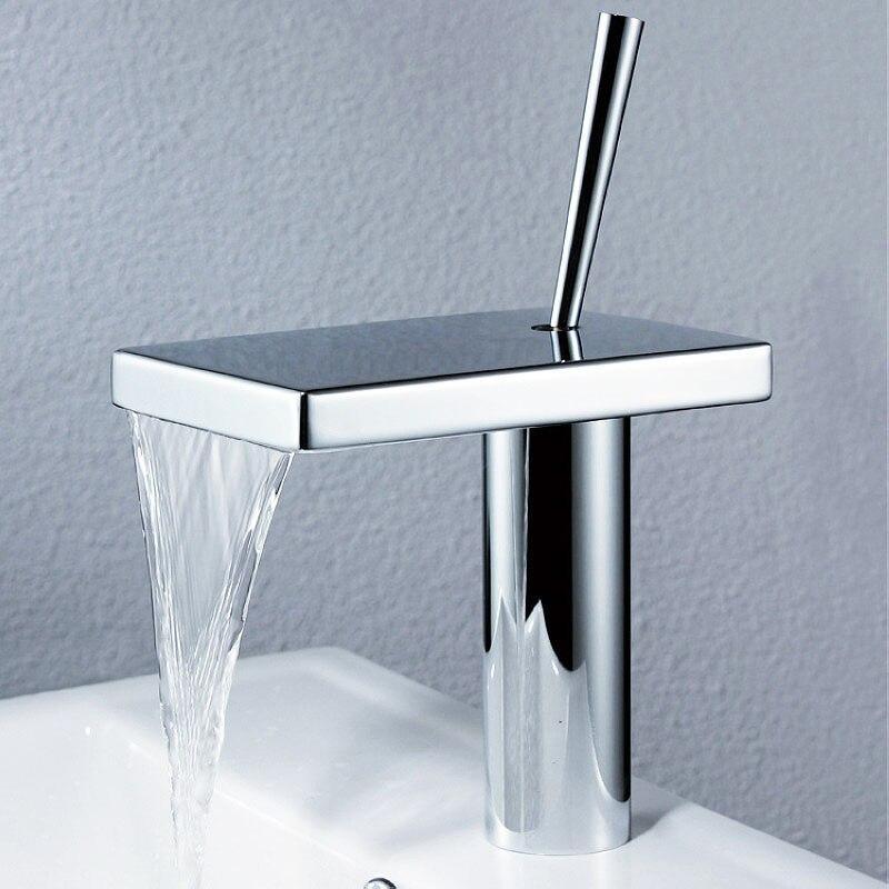Chrome Brass Bathroom Waterfall Basin Faucet Single Hole Water MixerChrome Brass Bathroom Waterfall Basin Faucet Single Hole Water Mixer