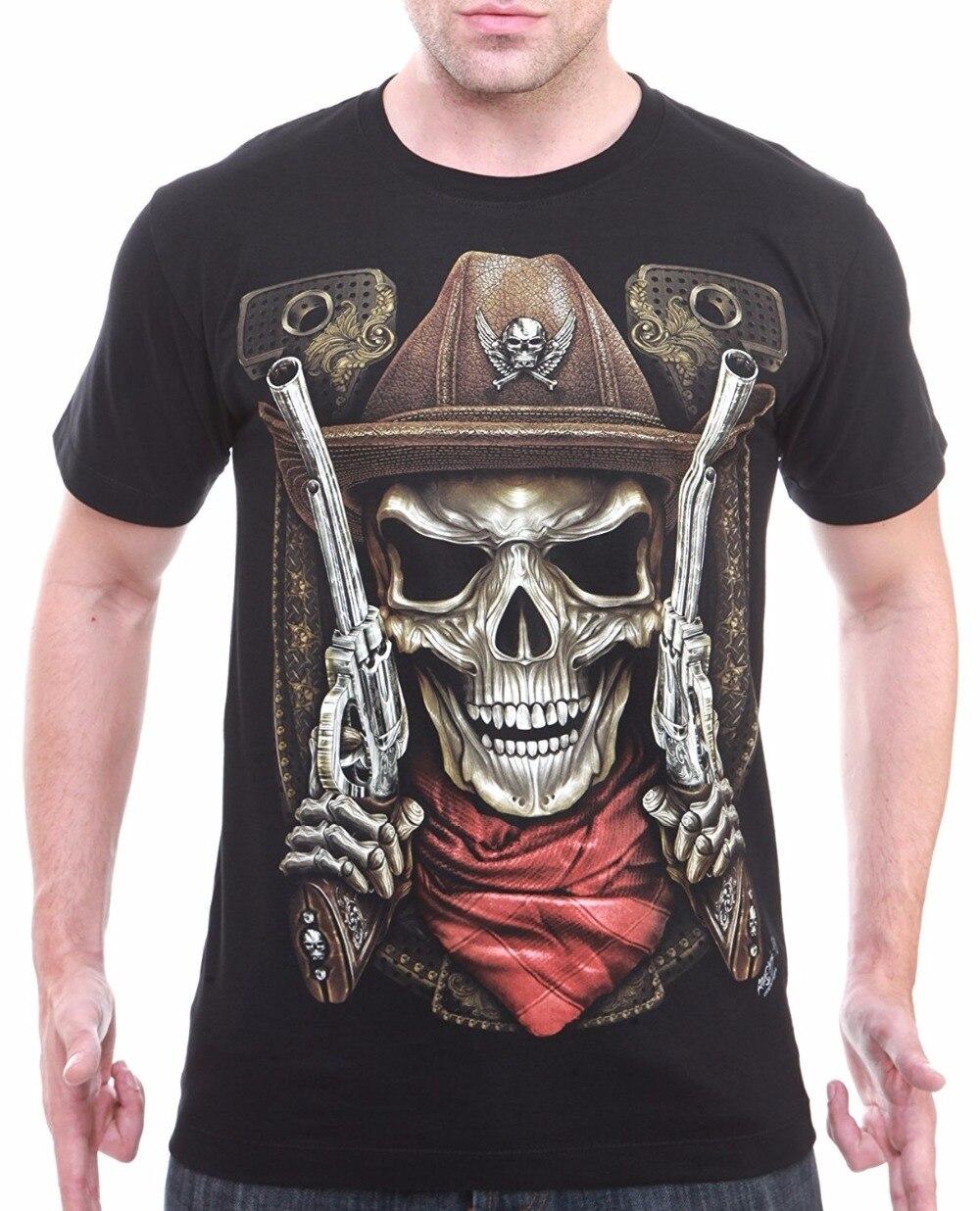 Printed T Shirts Hipster Tee Short Sleeve Print Cowboy Skull Gun Men T-Shirt Biker Moto Gangster Tattoo Jeans Crew Neck Mens Tee