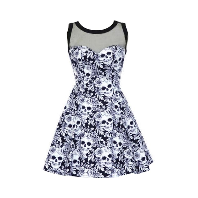 Good Looks Store Gothic Floral Skull Mesh Splicing Women Mini Dress Plus Size Sleeveless Empire Summer Hollow Out O-Neck A-Line Female Vestidos