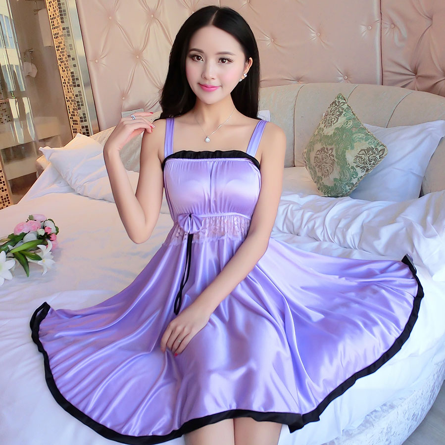 Ladies Sexy Silk Satin Night Dress Sleeveless Nighties V-neck Nightgown Plus Size Nightdress Lace Sleepwear Nightwear For Women 3
