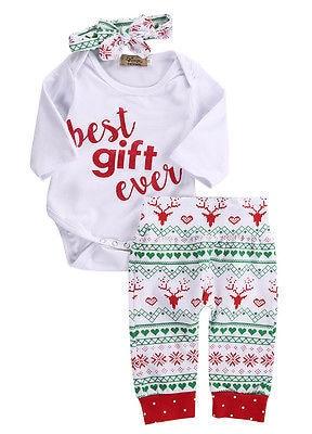 69ed3147d2ed Newborn Baby Girl Boy Reindeer Snowflake Romper+Long Pants XMAS Outfits  Costume baby set newborn