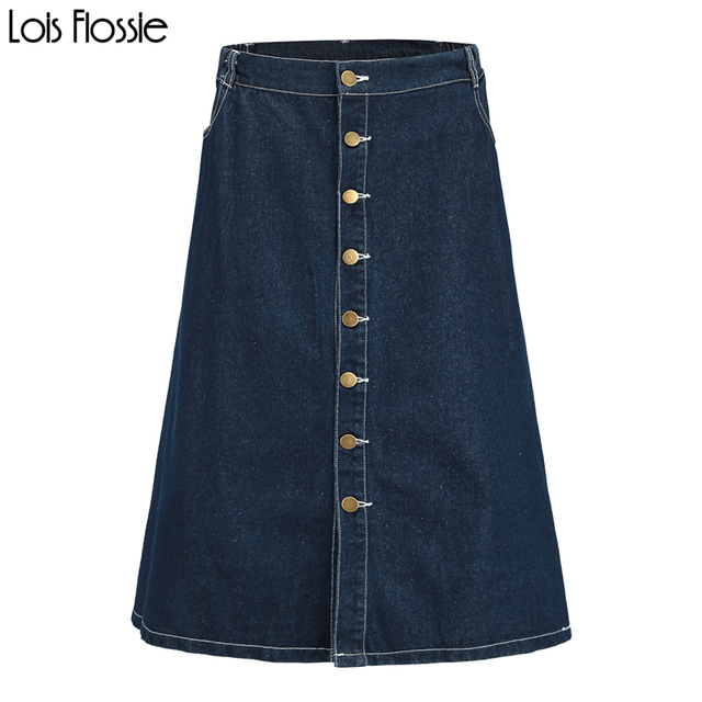 81f92e99b8f plus size blue stretchy high waist button down midi denim skirts for women  ladies casual oversized cotton a-line full skirts