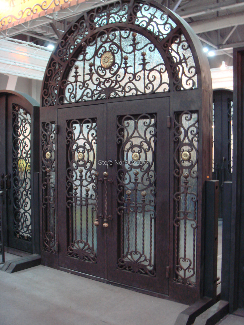 Buy custom design wrought iron door iron for Large front entry doors