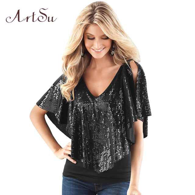ArtSu T Shirt Women Fashion Cropped Clothing Butterfly Sleeve Blusa Tops Patchwork Sequined Solid V Neck Lady Tees ASBL20031