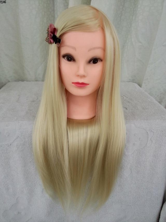 Livraison gratuite!! Tête de perruque de tête d'entraînement de Mannequin de cheveux blancs longs à la mode en vente