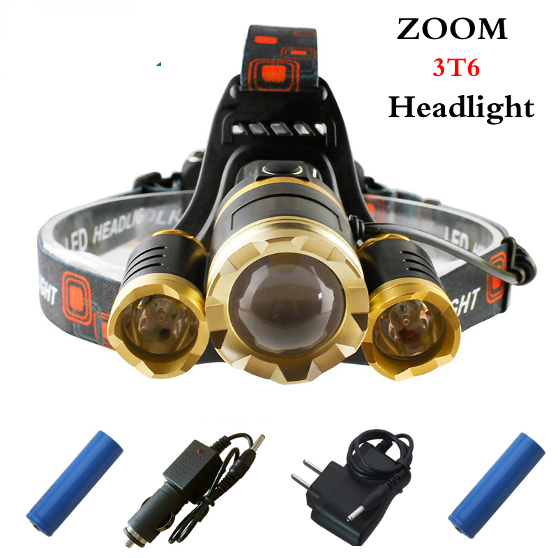 White light 10000 lumens 3T6 LED Headlamp headlights CREE XML T6 front head lamp 18650 Rechargeable