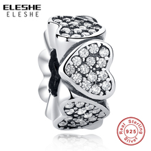 ELESHE Original 100% 925 Sterling Silver Heart Spacer Beads