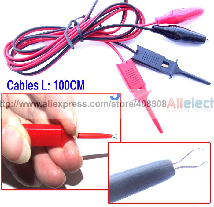 10pcs/lot Alligator Clip to Test Hook Cable Grabbers Probes IC 1M цена